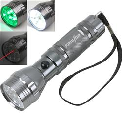 3 in 1 LED Flashlight with laser pointer, green or regular output and laser pointer
