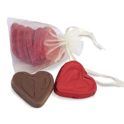 Chocolate Hearts in Organza Gift Bag