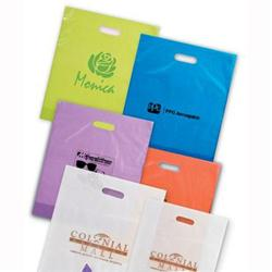 Frosted Die Cut Custom Plastic Bags 12 x 15 x 3