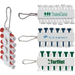 Golf Tee Set Custom Imprinted with Chain and Golf Tee Holder
