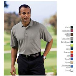 Port Authority Silk Touch Pique Knit Sport Shirt with Pocket.
