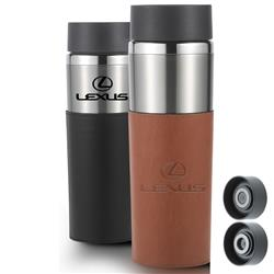 Astor Travel Mug with Leatherette Sleeve Debossed