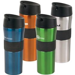 Aura Vacuum Tumbler with a Spill Proof Lid.  Double walled stainless steel custom travel mug.
