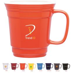 Ceramic Stadium Cup with handle and two tone finish customized with promotional logo