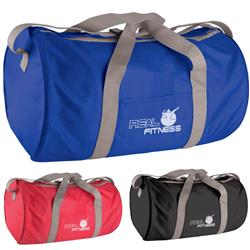 The Classic Duffel Bag in polyester, barrel shaped with a custom imprint