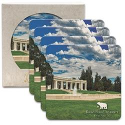 Set of 4 Full Color Stone Coasters in full color packaged with custom imprint