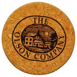 Thick Round Custom Cork Coaster with Wood Backing Laser Engraved