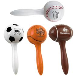 Custom Maracas in Baseball, Football, Soccer and Basketball Shapes