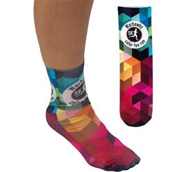 Custom Socks in a crew style with a full color imprint