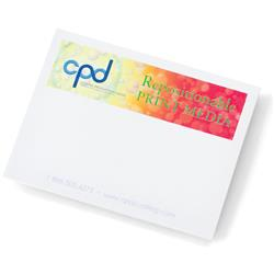 4 x 3 25 sheet custom sticky notes with a full color imprint and made in usa