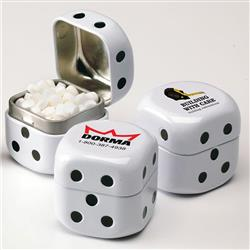 Roll the Dice Mint Tins with Micro Mints and your cusotm logo