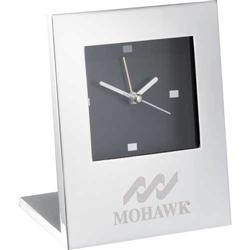 Engraved Silver Plated Radiance Desk Clock Analog