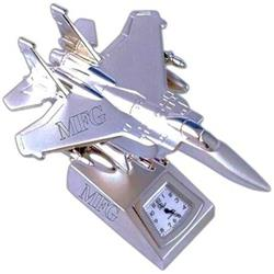 Fighter Jet Desk Clock Laser Engraved