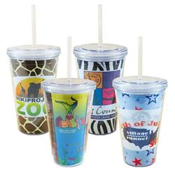 Full Color Tumbler with Straw and your Four Color Process Logo