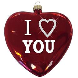 "3 1/2"" Glass Heart Disk Ornament"