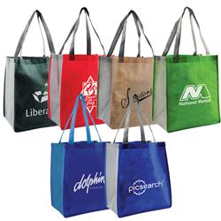 Habitat Shopper Totes with Custom Imprint and two tone color options.