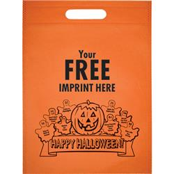 Halloween bag with die cut handle in eco friendly non woven material and free custom imprint