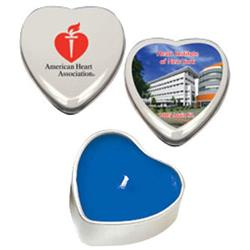 Heart Shaped Soy Candle Tins  with a custom imprint or a full color logo