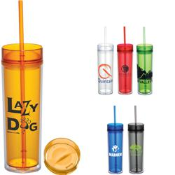 Hot & Cold Skinny Tumbler in Acrylic - Hot and Cold Lids with Custom Imprint