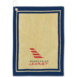 Jacquard Border Golf Towels with Imprint or Embroidery