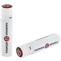 SPF 15 Lip Balm in White Tube and Full Color Dome Lid and custom label