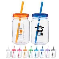 mason jars with lids and straws made of Tritan plastic - BPA free