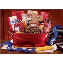 Custom Metal Tub Gift Basket, Holiday Corporate Gift Basket in Metal Tub