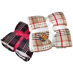 Lambswool Microsherpa Plaid Throw Blanket with Custom Embroidery