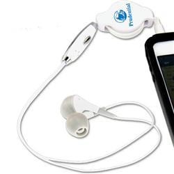 Platinum Noise Reducing Retractable Earphones Custom Imprinted
