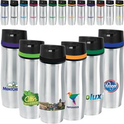 Persona Promotional Travel Mug with Color Band in Stainless Steel