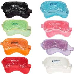 Plush Hot and Cold Gel Aqua Bead Eye Mask with a custom imprint
