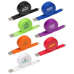 All-In-One Retractable Charging Cable for Apple iPhone and Micro USB Smart Phones