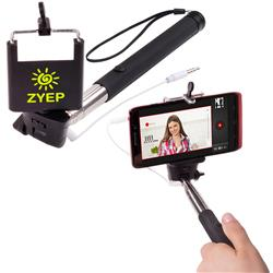 Selfie Stick in black with a large imprint area