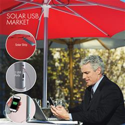 Solar USB Custom Market Umbrella