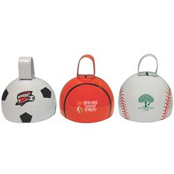Sports Themed Custom Cowbells - basketball, baseball and soccer styles