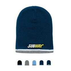 Tri Color Beanie with trim and custom embroidered logo