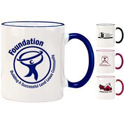 Two Tone 11 oz Custom Ceramic Mugs with promotional logo