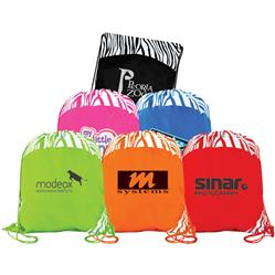 Wildside Drawstring Backpacks with Leopard Print and Custom Imprint