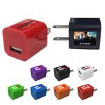 Universal AC to USB Custom Wall Chargers with promotional logo.  Wall adapter