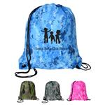 Camouflage Drawstring Backpack in Blue, Pink, Green and Camo with custom printing