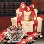 Custom crystal bowl with chocolate almonds customized with your logo
