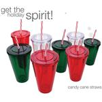 Holiday Tumblers with Candy Cane Straw