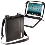Leeman of New York Leather iPad and Tablet Folio with Strap and stand, a custom iPad padfolio by Adco Marketing.