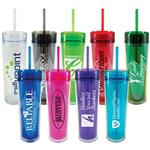 Skinny Acrylic Tumblers with Straw - 16 oz