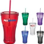 Soda Fountain Custom Tumblers with Straws and Logo