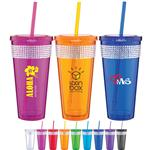 Spirit Ice Tumbler with Straw and Rhinestone Glitter - 20 oz custom imprinted