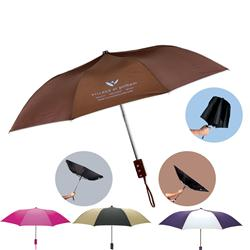 The Revolution Folding Promotional Umbrellas with Rubber Handle - Custom Umbrella