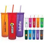 Modern Double Wall Acrylic Tumbler with Straw