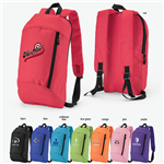 Padded backpack with logo heat transfer- bright colors.