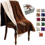 Custom Lambswool Microsherpa Throw Blankets Embroidered